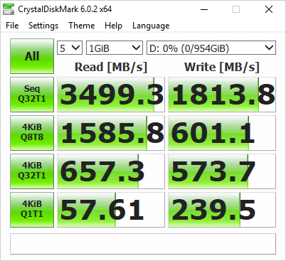 CrystalDiskMark 5.2.1 x64 Benchmark Results