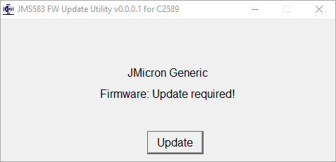 JMS583 FW Update Required Window