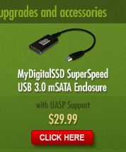 MyDigitalSSD Bullet Proof USB 3.0 mSATA Enclosure Adapter only $19.99