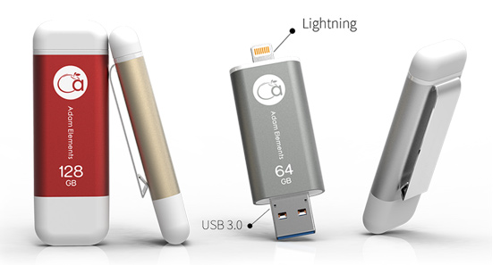 iKlips for Apple iOS with USB 3.0 and Lightning connectors available in 32GB, 64GB, 128GB and 256GB capacities