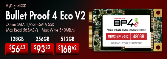 MyDigitalSSD Bullet Proof 4 Eco  V2 mSATA starting at $56.42