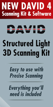New DAVID 4 Scanning Kit and Software now available. DAVID Structured Light 3D Scanning Kit is easy to use with precise scanning, and the kit includes everything you need to start 3D scanning