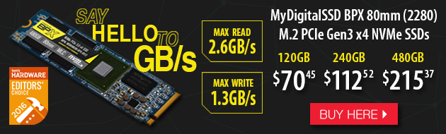 MyDigitalSSD BPX 80mm (2280) M.2 PCI Express 3.0 x4 (PCIe Gen3 x4) NVMe SSD. - 120GB at $65.77 - 240GB at $107.85 - $196.67