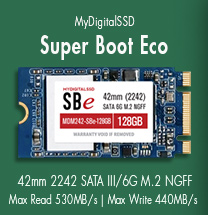 View all MyDigitalSSD Super Boot Eco (SBe) 42mm (2242) 6G M.2 NGFF SSDs