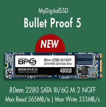 View all MyDigitalSSD Bullet Proof 5 (BP5) 80mm (2280) 6G M.2 NGFF SSDs