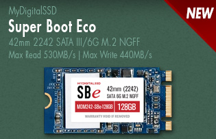 View all MyDigitalSSD Super Boot Eco (SBe) 42mm 6G M.2 NGFF SSDs