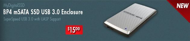 View the new BP4 mSATA enclosure with USB 3.0 UASP support by MyDigitalSSD
