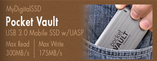 View all Pocket Vault mobile SSDs with USB 3.0 UASP support by MyDigitalDiscount