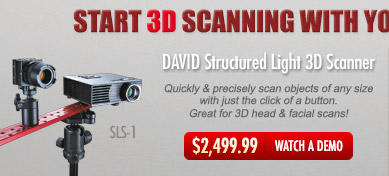 DAVID SLS-1 Structured Light 3D Scanner allows users to quickly scan objects of any size and is great for 3D head and facial scans - $2349.99