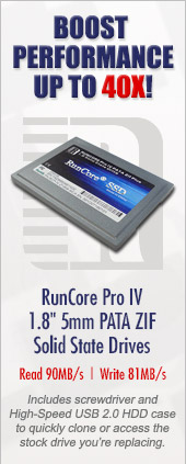 Boost performance up to 40X with RunCore 1.8 inch PATA ZIF SSDs
