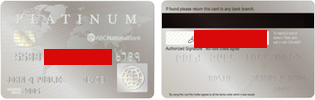 Example credit card scan