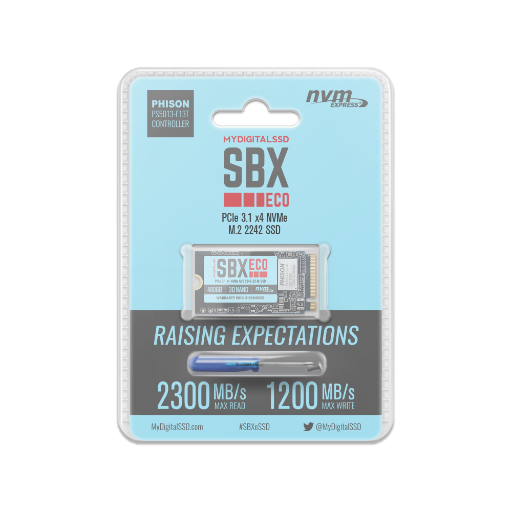 480GB MyDigitalSSD SBXe Single-Sided PCIe 3.1 x4 NVMe 2242-S2-M M.2 SSD Blister Packaging