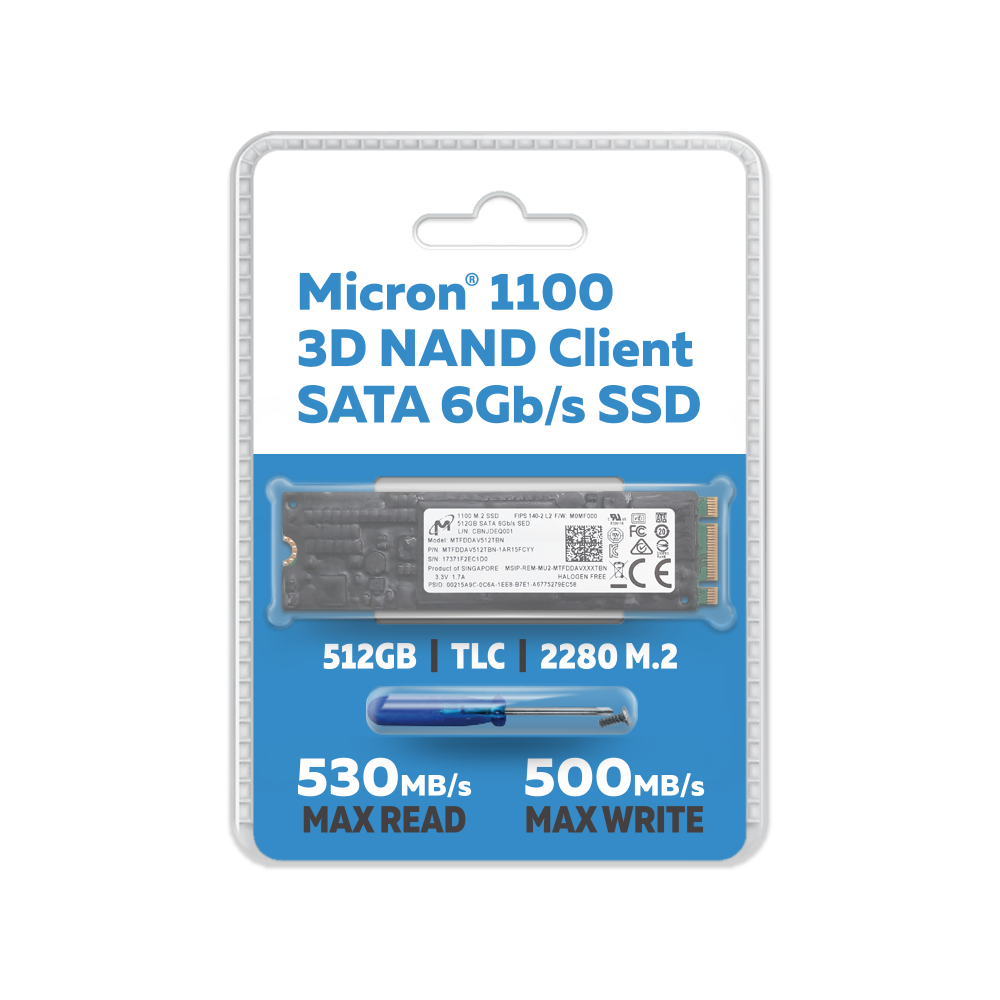 Micron 512GB 1100 TLC 3D NAND SATA III (6Gb/s) 80mm (2280SS) M 2 Client SSD  with Conformal Coating - FIPS 140-2 Level 2 Validated SED -