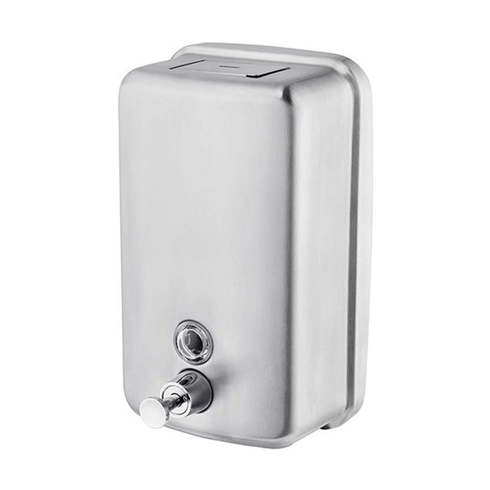 Norye Wall-Mount 1200 ml Manual 304 Stainless Steel Hand Lotion / Gel Sanitizer / Liquid Soap Dispenser - B-Style Satin Finish - MA01-01-1200PI