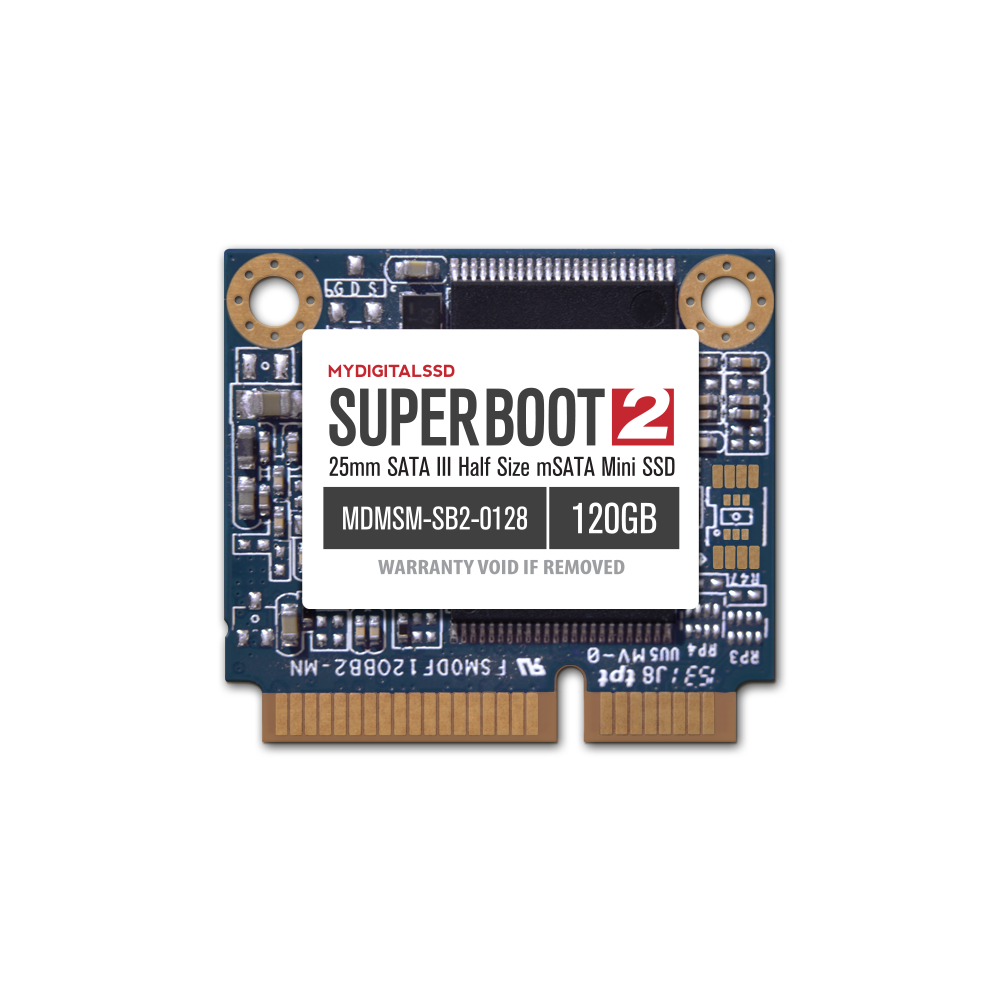 MyDigitalSSD 120GB (128GB) Super Boot 2 (SB2) 25mm SATA III (6G) Half-Size mSATA Mini SSD - MDMSM-SB2-0128