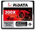 RiDATA 4GB 300X SLC Supreme Flash CF Card - RDCF4G-300X-SUP