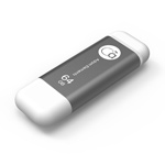 Adam Elements 64GB iKlips Lightning USB 3.0 Dual-Interface Flash Drive - Grey - ADRAD64GIKLGY