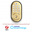 Yale Real Living Keyless Push Button Deadbolt Lock with ZigBee Wireless -  Polished Brass - YRD210-HA-605