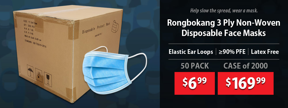 RONGBOKANG Disposable 3-Ply Non-Woven Protective Earloop Face Masks starting at only $6.99